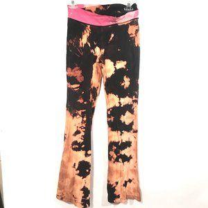 EVERLAST  X CUSTOM Acid Wash Black Leggings Pink